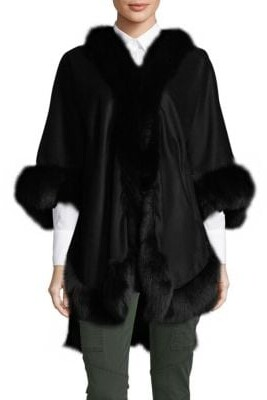 Wolfie Fur Textured Dyed Fox Fur Shawl Collar Coat