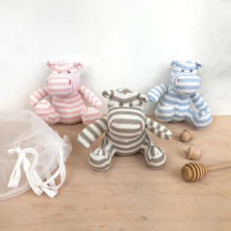 Posh Totty Designs Interiors Knitted Hippo Baby Toy In Gift Pouch