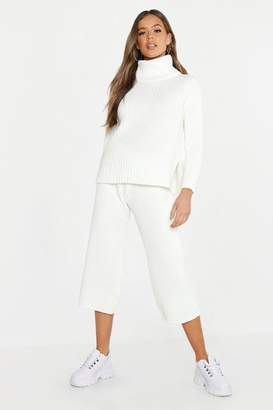 boohoo Roll Neck Rib Culotte Knitted Co-Ord