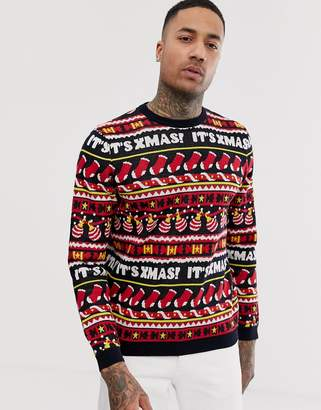 Asos Design DESIGN Christmas jumper with all over festive design in navy