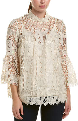 Anna Sui Floral Diamond And Medallion Lace Top