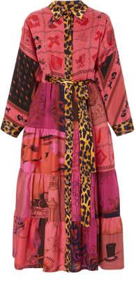 Rianna + Nina Exclusive One Of A Kind Leopard Trim Volant Shirt Dress