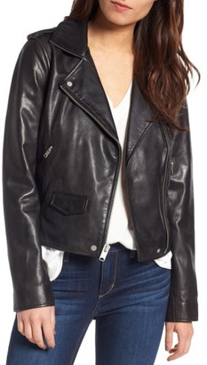 Women's Andrew Marc Wesley Washed Leather Biker Jacket $418 thestylecure.com