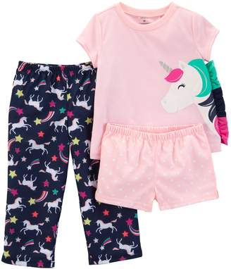 Carter's Toddler Girl Unicorn Top, Shorts & Pants Pajama Set