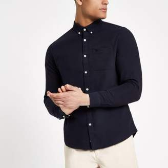 River Island Navy wasp embroidered pocket Oxford shirt