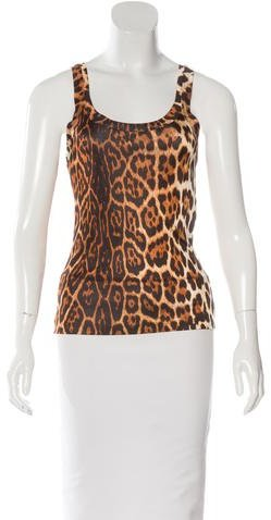 Christian Dior Sleeveless Leopard Print Top
