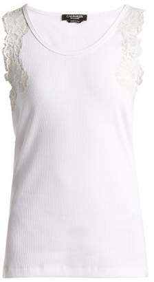 d25ff7722e38f Calvin Klein Lace Trimmed Stretch Cotton Blend Tank Top - Womens - White
