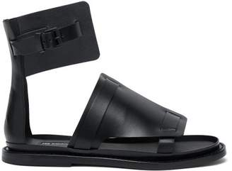 Ann Demeulemeester Buckled Flat Leather Sandals - Womens - Black