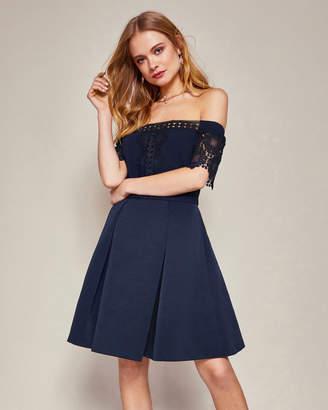 Ted Baker NOWELL Lace trim Bardot dress