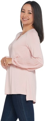 Halston H By H by Knit Top with Chiffon Blouson Sleeves