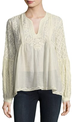 Love Sam Embroidered Long-Sleeve Peasant Blouse $189 thestylecure.com