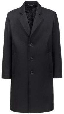 HUGO Boss Relaxed-fit wool-blend coat technical quilted back 38R Black