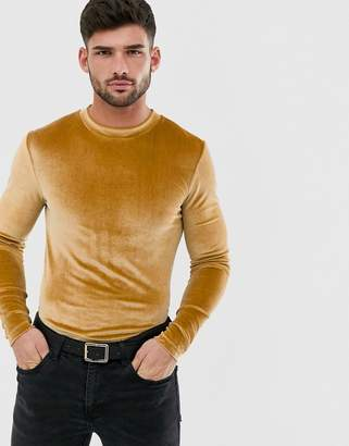 Asos Design DESIGN longline long sleeve t-shirt in velour with curved hem in brown
