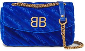 Balenciaga Bb Round Embroidered Quilted Velvet Shoulder Bag - Bright blue