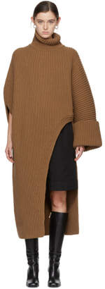 Jil Sander Brown Asymmetric Oversized Turtleneck Sweater