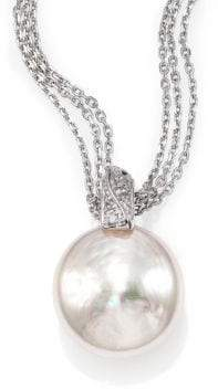 Majorica 18MM White Coin Pearl& Sterling Silver Triple-Chain Pendant Necklace