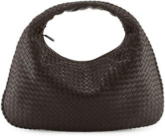 Bottega Veneta Intrecciato Woven Large Hobo Bag, Dark Brown
