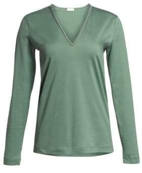 Brunello Cucinelli Long-Sleeve V-Neck Tee
