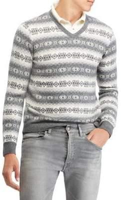 Ralph Lauren Purple Label Pattern V-Neck Sweater