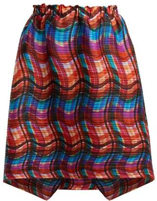 Pleats Please Issey Miyake Stratum Check Print Skirt - Womens - Red Multi