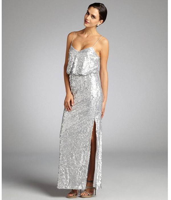 Aidan Mattox matte silver sequin draped bodice spaghetti strap evening gown