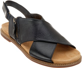 Clarks Artisan Leather Cross Band Sandals - Corsio Calm
