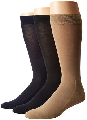 Hue Solid Sock with Half Cushion 3-Pack Men's Crew Cut Socks Shoes