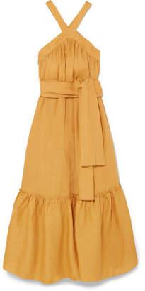 Three Graces London Seton Linen Maxi Dress - Saffron