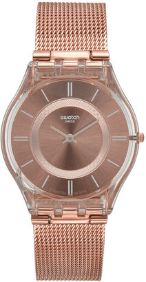 Swatch Women's Swiss Core Pink Gold-Tone PVD Stainless Steel Bracelet Watch 34mm SFP115M $125 thestylecure.com