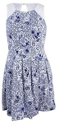 GUESS Women's Printed Cotton Fit Flare Dress