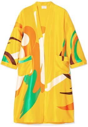 Simon Miller Owosso Printed Silk-satin Kimono - Yellow