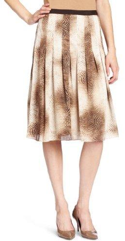 Jones New York Women's Petite Printed Snake Pleated Skirt