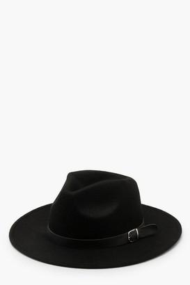 boohoo Fedora Hat With Buckle Trim
