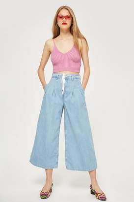 Topshop Bleach Tie Cropped Wide Leg Jeans