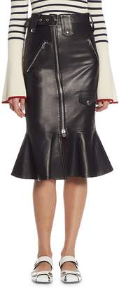 Each X Other Women's Flared Leather Biker Skirt