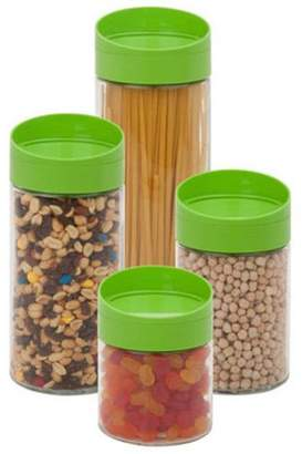 Honey-Can-Do Lime Glass Twist Lid Storage Jar Set (4 Pieces)
