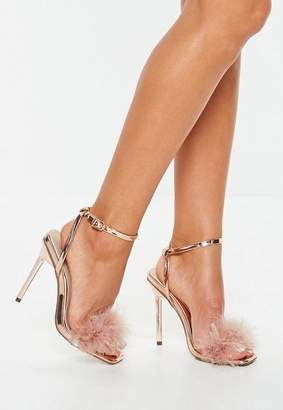Missguided Rose Gold Shiny Feather Heeled Sandals