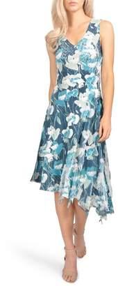 Komarov Floral Asymmetric Chiffon Dress