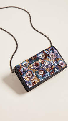 Coach 1941 Leather Sequin Foldover Chain Clutch