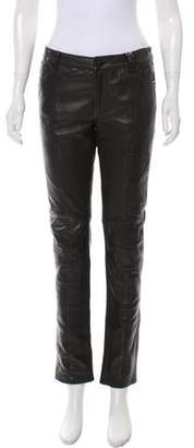 Pierre Balmain Leather Mid-Rise Pants w/ Tags