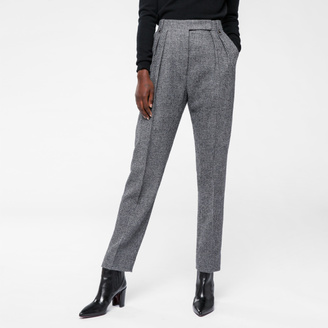 Women's Grey Houndstooth Wool Pleated Trousers $575 thestylecure.com
