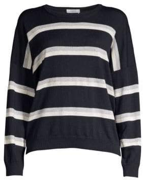 Peserico Lurex Striped Wool, Silk& Cashmere Sweater
