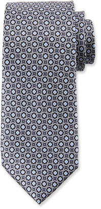 Canali Men's Connected Medallions Silk Tie, Gray