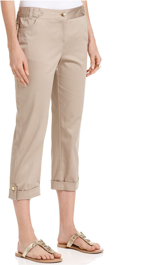Style&Co. Pants, Sateen Roll-Tab Capri