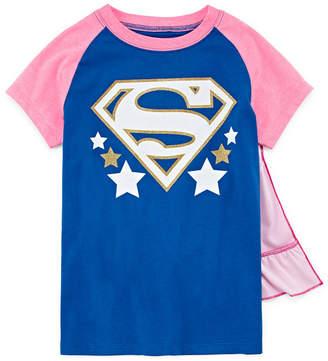 Superheroes Superman Graphic T-Shirt w Detachable Cape Set- Girls' SM-XLG