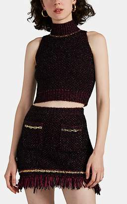 Versace Women's Embellished Metallic Tweed Crop Top - Pink