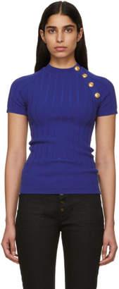 Balmain Blue Buttoned Knit T-Shirt
