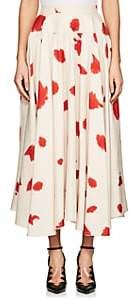 Calvin Klein Women's Paint-Splattered Silk Slub-Weave Midi-Skirt - White Size 38 It