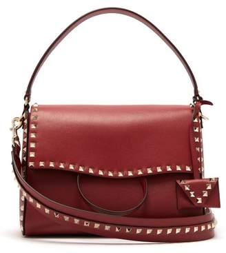 Valentino - Rockstud Leather Shoulder Bag - Womens - Burgundy