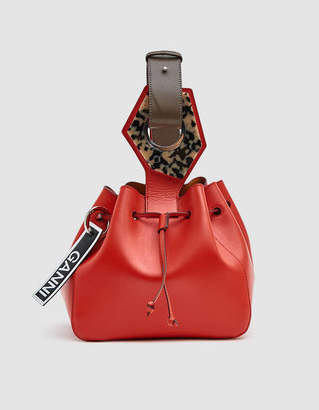 Ganni Small Leather Pouch in Red